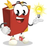 Cute Book Cartoon Vector Character AKA Bookie Paperson - with an Idea