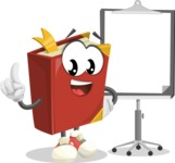Cute Book Cartoon Vector Character AKA Bookie Paperson - With Blank Presentation Board