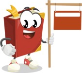 Cute Book Cartoon Vector Character AKA Bookie Paperson - With Blank Real Estate Sign