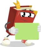 Cute Book Cartoon Vector Character AKA Bookie Paperson - With Blank Sign