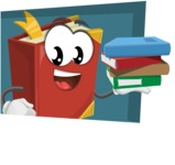 Cute Book Cartoon Vector Character AKA Bookie Paperson - With Flat Background Illustration