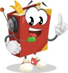 Cute Book Cartoon Vector Character AKA Bookie Paperson - With Headphones