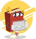 Cute Book Cartoon Vector Character AKA Bookie Paperson - With Letter Illustration