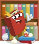 Cute Book Cartoon Vector Character AKA Bookie Paperson - With Many Books for Reading Illustration