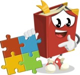 Cute Book Cartoon Vector Character AKA Bookie Paperson - with Puzzle