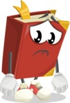 Cute Book Cartoon Vector Character AKA Bookie Paperson - With Sad Face