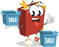 Cute Book Cartoon Vector Character AKA Bookie Paperson - With Sale Boxes