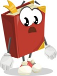 Cute Book Cartoon Vector Character AKA Bookie Paperson - With Stunned Face