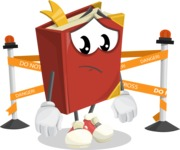 Cute Book Cartoon Vector Character AKA Bookie Paperson - with Under Construction sign