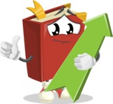 Cute Book Cartoon Vector Character AKA Bookie Paperson - with Up arrow