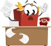 Cute Book Cartoon Vector Character AKA Bookie Paperson - Working On Desk and Stressed from Work