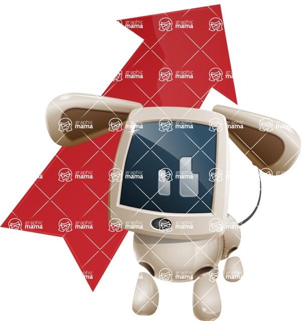 Cute Robot Pet Cartoon Character AKA MADIO The Puppy - Arrow