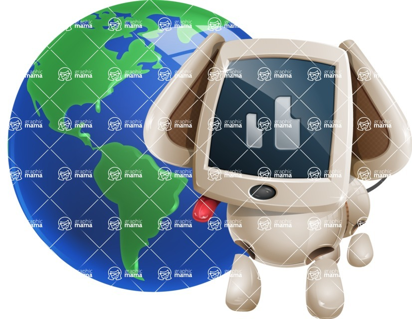 Cute Robot Pet Cartoon Character AKA MADIO The Puppy - Earth