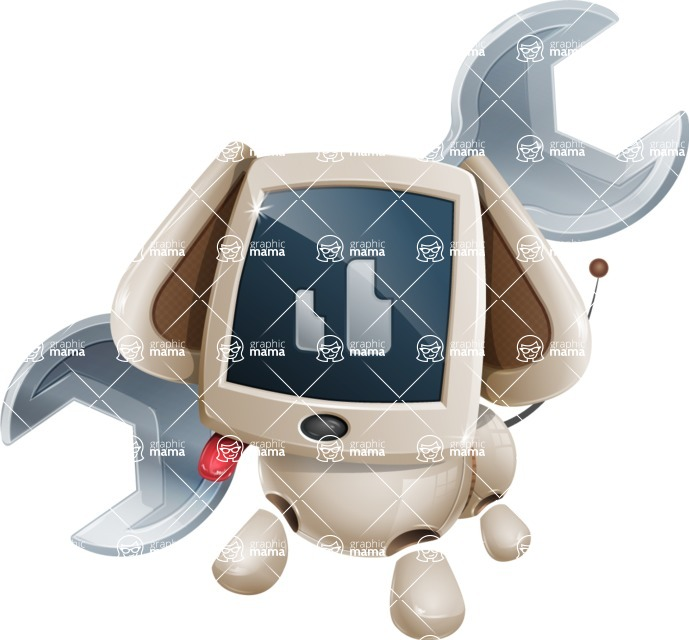 Cute Robot Pet Cartoon Character AKA MADIO The Puppy - Dog Worker 2