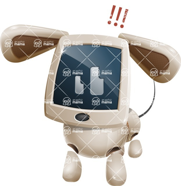 Cute Robot Pet Cartoon Character AKA MADIO The Puppy - Attention