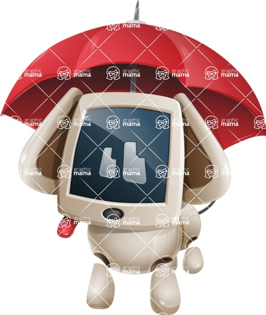 Cute Robot Pet Cartoon Character AKA MADIO The Puppy - Umbrella