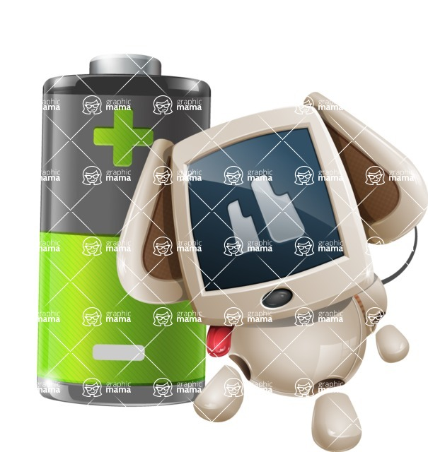 Cute Robot Pet Cartoon Character AKA MADIO The Puppy - Battery