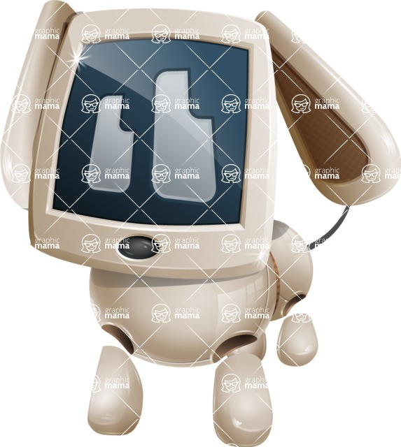 Cute Robot Pet Cartoon Character AKA MADIO The Puppy - Sad