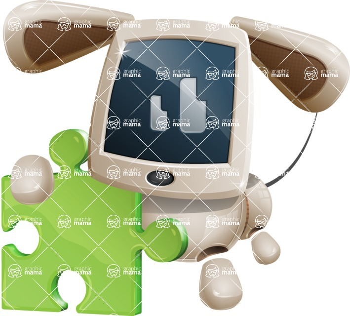Cute Robot Pet Cartoon Character AKA MADIO The Puppy - Puzzle