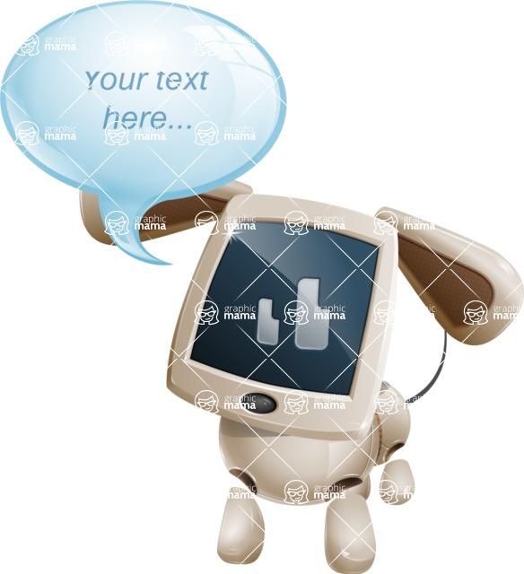 Cute Robot Pet Cartoon Character AKA MADIO The Puppy - Text Bubble