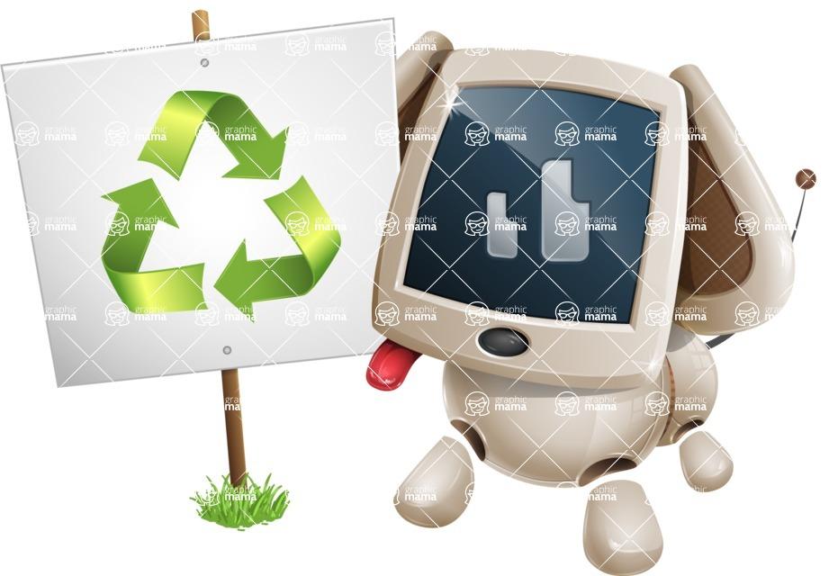 Cute Robot Pet Cartoon Character AKA MADIO The Puppy - Recycling