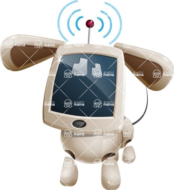 Cute Robot Pet Cartoon Character AKA MADIO The Puppy - Wi-Fi