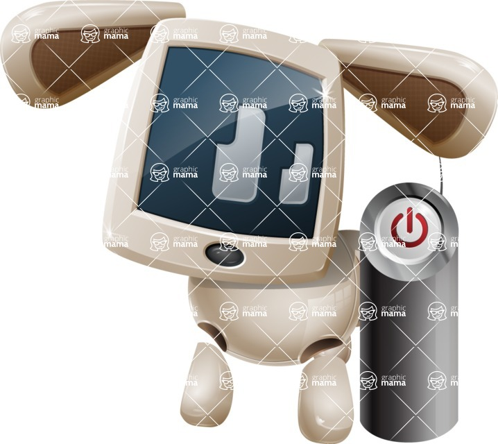 Cute Robot Pet Cartoon Character AKA MADIO The Puppy - Power Button
