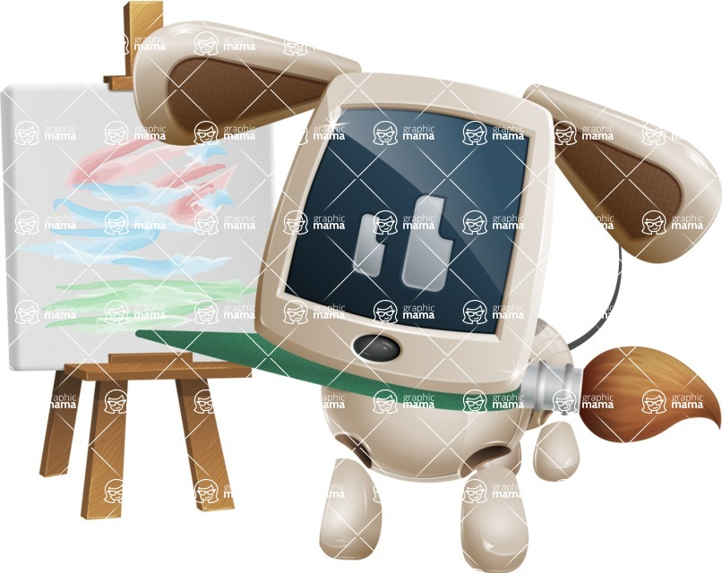 Cute Robot Pet Cartoon Character AKA MADIO The Puppy - Artist