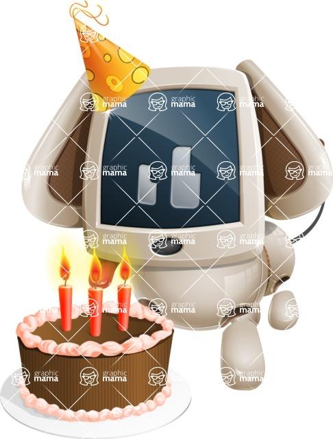 Cute Robot Pet Cartoon Character AKA MADIO The Puppy - Birthday