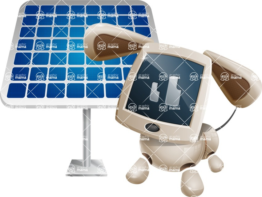 Cute Robot Pet Cartoon Character AKA MADIO The Puppy - Solar Panel