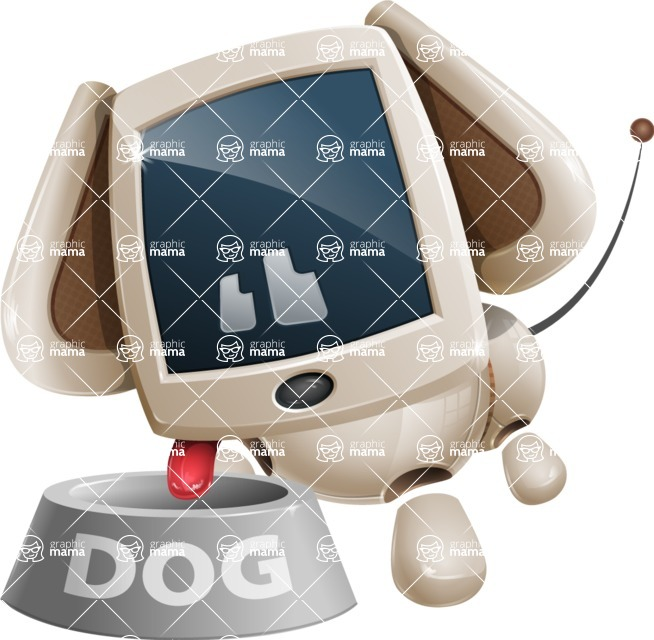Cute Robot Pet Cartoon Character AKA MADIO The Puppy - Doggy Dish