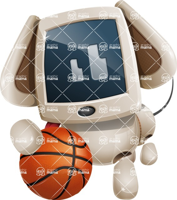 Cute Robot Pet Cartoon Character AKA MADIO The Puppy - Basketball