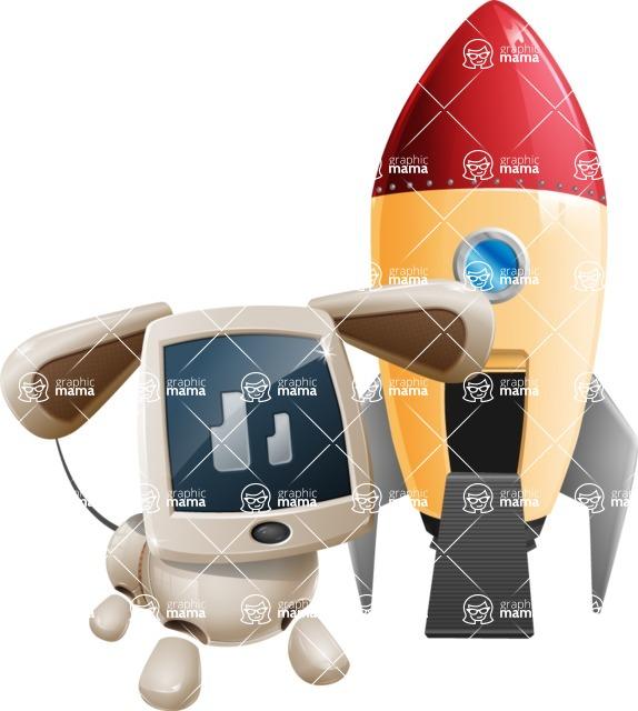 Cute Robot Pet Cartoon Character AKA MADIO The Puppy - Rocket