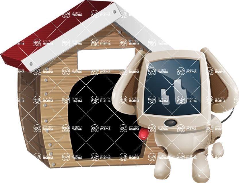 Cute Robot Pet Cartoon Character AKA MADIO The Puppy - Doggy House
