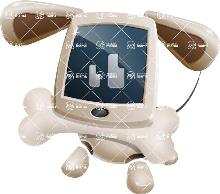 Cute Robot Pet Cartoon Character AKA MADIO The Puppy - Bone 1