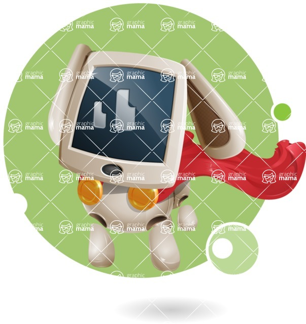 Cute Robot Pet Cartoon Character AKA MADIO The Puppy - Shape8