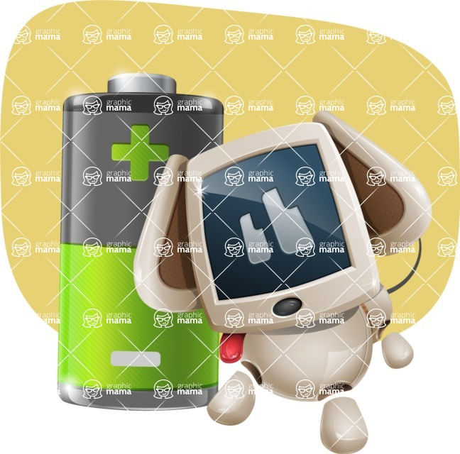 Cute Robot Pet Cartoon Character AKA MADIO The Puppy - Shape11