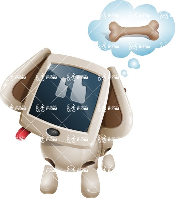 Cute Robot Pet Cartoon Character AKA MADIO The Puppy - Bone 2