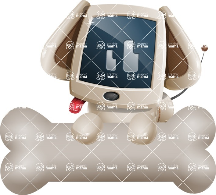 Cute Robot Pet Cartoon Character AKA MADIO The Puppy - Bone 3