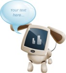 Cute Robot Pet Cartoon Character AKA MADIO The Puppy - Text Bubble