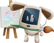 Cute Robot Pet Cartoon Character AKA MADIO The Puppy - Artist
