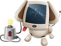 Cute Robot Pet Cartoon Character AKA MADIO The Puppy - Charging