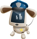 Cute Robot Pet Cartoon Character AKA MADIO The Puppy - Police Dog