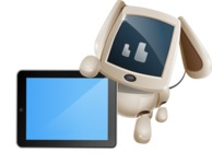 Cute Robot Pet Cartoon Character AKA MADIO The Puppy - iPad 2