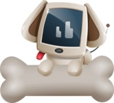 Cute Robot Pet Cartoon Character AKA MADIO The Puppy - Bone 3