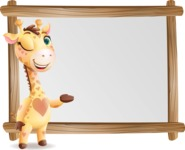 Baby Giraffe Cartoon Vector Character - Showing on Big whiteboard