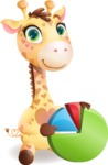 Baby Giraffe Cartoon Vector Character - with Business graph