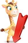 Baby Giraffe Cartoon Vector Character - with Arrow going Down
