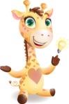 Baby Giraffe Cartoon Vector Character - with an Idea