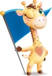 Baby Giraffe Cartoon Vector Character - with Flag
